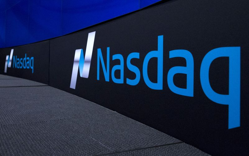 © Reuters. The Nasdaq logo is displayed at the Nasdaq Market site in New York