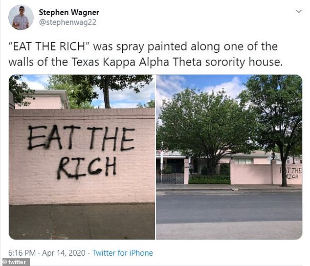 This tweet claimed the sorority house was spay painted with 'eat the rich'