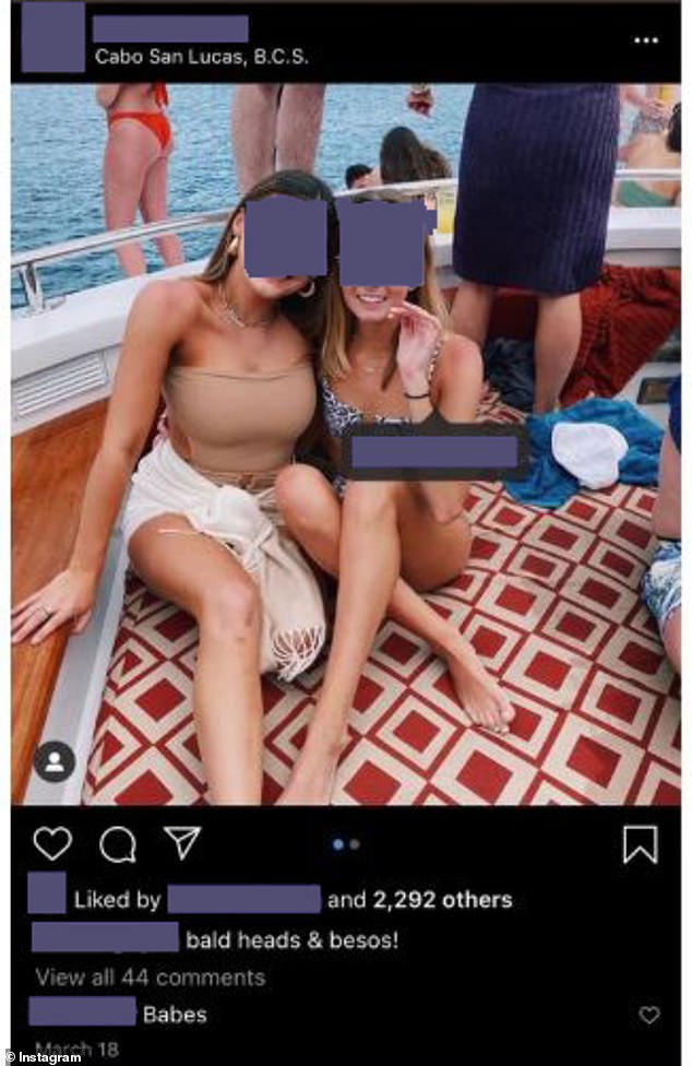 A University of Texas student commented on this picture of a sorority sister who went on Spring Break to Cabo criticizing the decision to do so. The sorority member's mother contacted the student to inform them she told the police about the comment and that none of the sorority had tested positive for coronavirus or chartered a plane to Mexico