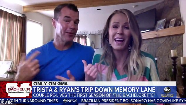 Awkward: Ryan Sutter has admitted he still can't watch the show that made himself and wife Trista stars, even 17 years later, in a remote interview with Good Morning America on Tuesday