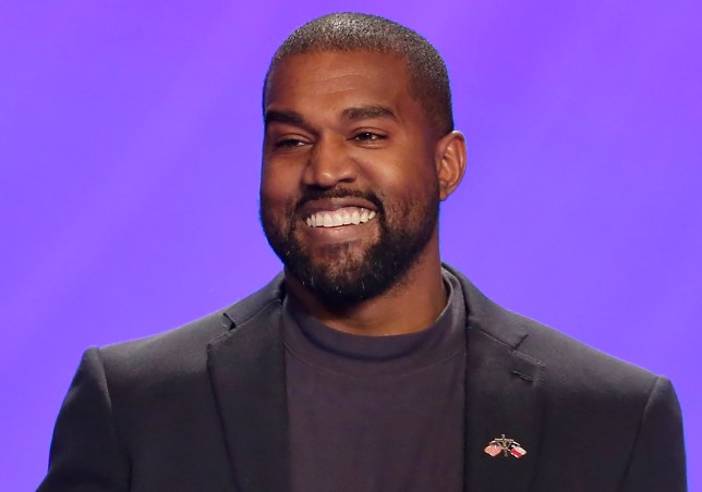 Kanye West on stage during a service at Lakewood Church in Houston