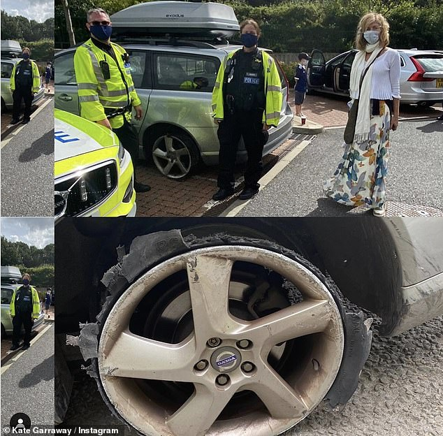 Terrifying! Kate Garraway, 53, has been left shaken after a tyre on her car blew out on motorway, during her first family trip without husband Derek Draper, 52, on Sunday