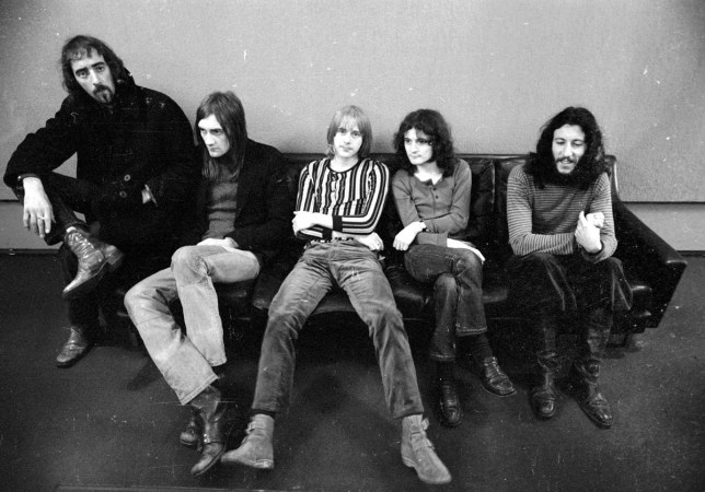 LOS ANGELES - MARCH 21: (L-R) John McVie, Mick Fleetwood, Danny Kirwan, Jeremy Spencer and Peter Green of the rock group 'Fleetwood Mac' pose for a portrait on March 21, 1970 in Los Angeles, California. (Photo by Michael Ochs Archives/Getty Images)