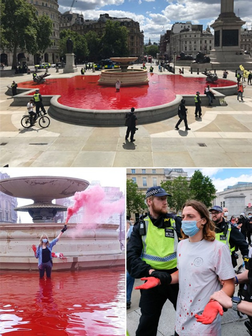Trafalgar Square fountains dyed blood red by Animal Rebellion