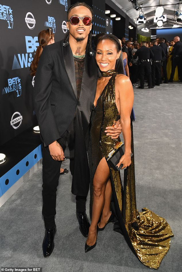 Confessional: Jada said she developed a friendship with August four years ago, but revealed she and Will were going through a 'difficult time' and had 'basically broken up'' (pictured together at the 2017 BET Awards)