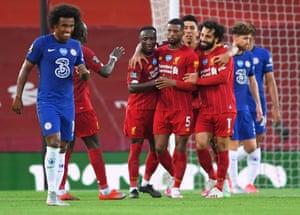 Liverpool's Georginio Wijnaldum celebrates scoring their third goal.