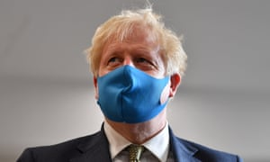 Boris Johnson, wearing a face mask