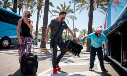 Tourists travelling with Tui in Mallorca in June. Tui has now cancelled holidays to Spain for its British customers up to 9 August.