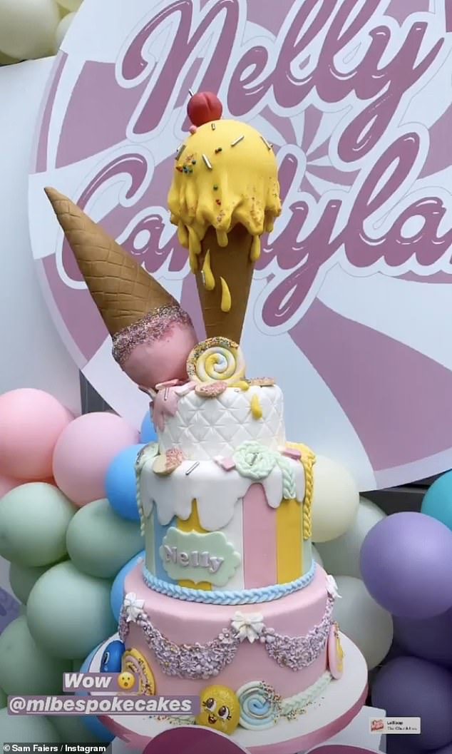 Wow! Without doubt, the most impressive element of the birthday set-up was Nelly's gravity-defying 3-tier birthday cake complete with two mock ice cream cones