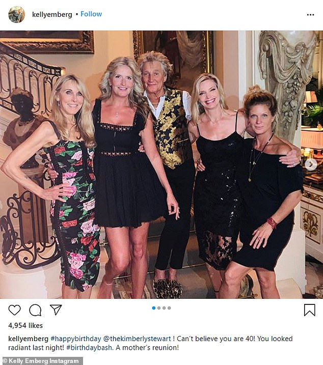 The women's club: Rod with his ladies, from left, ex Alana Stewart, current Penny, Rod, Kelly, and Rachel Hunter