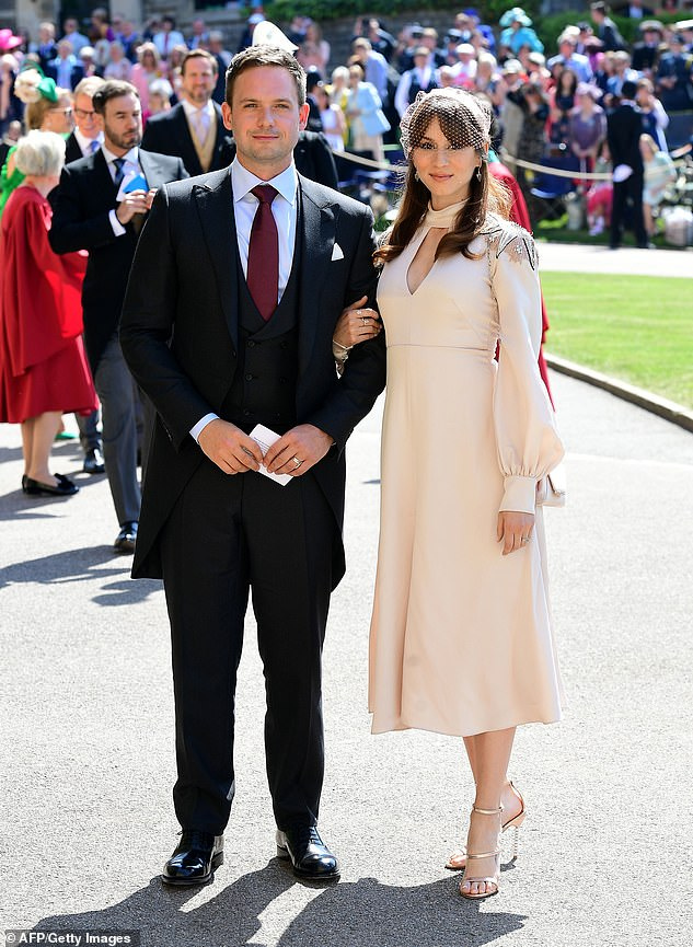 Worried! The 34-year-old explained she had 'extreme anxiety' the British press would 'tear her apart' if she wore a fascinator incorrectly. She was also trying to hide that she was five months pregnant. Pictured at the wedding with husband Patrick J Adam