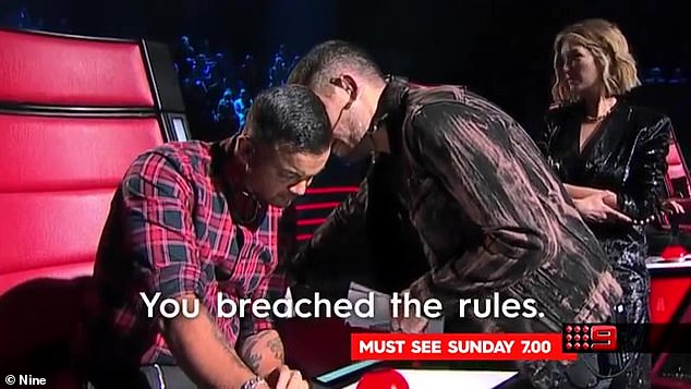'Breached':This was demonstrated during the 2020 season when Guy Sebastian ignored the rules by turning his chair for a singer during the Blinds when he already had a full team