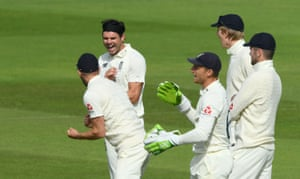 Anderson celebrates taking Chase LBW for 47.