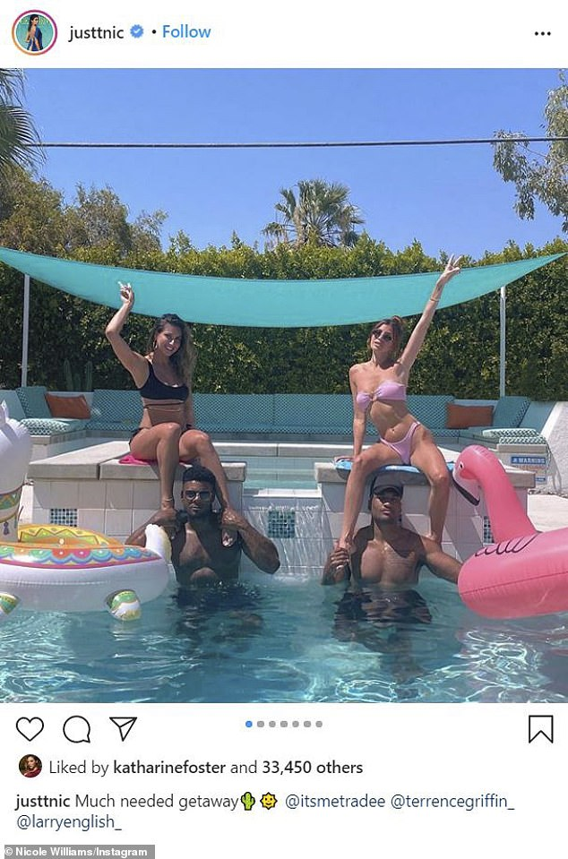 Party time in LA: She had a fun pool day with her husband Larry English and another couple