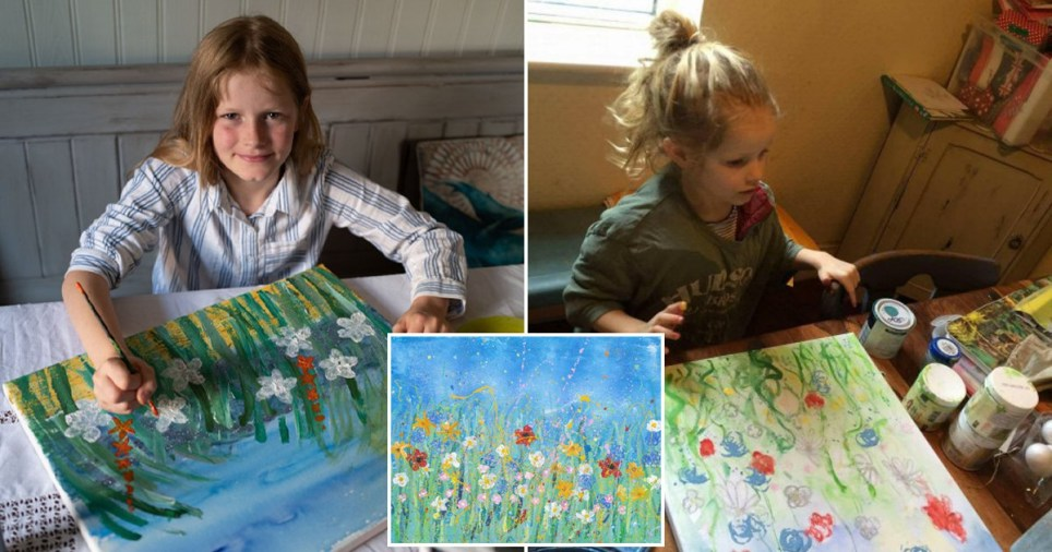 10yr old mini-monet has made ?50k selling paintings and has given it all to charity Pics: SWNS