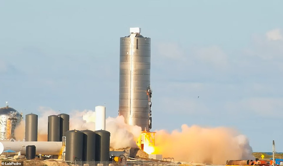 The SN5 prototype, the first full scale model of its kind, performed an almost 500-foot leap above SpaceX's development facility in Boco Chica, Texas, at 5pm local time