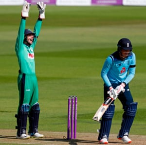 Ireland's Gareth Delaney appeals as England's Tom Banton is trapped lbw for 58 off the bowling of Ireland's Gareth Delaney.