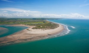 Ynyslas aerial view of beach, dunes and Dovey estuary