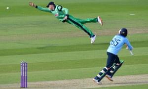 Ireland's Harry Tector (left) just fails to reach a shot from England's Adil Rashid.