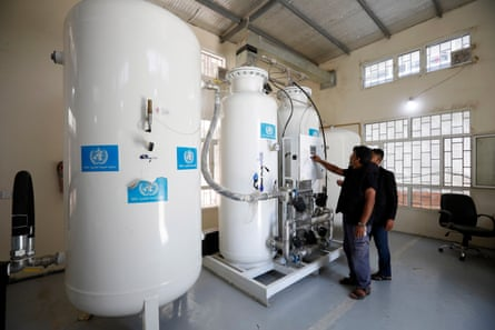 A long-term solution is for hospitals to build their own oxygen plants, like this one provided by the World Health Organization at a hospital in Sana'a, Yemen. But this is an expensive option.