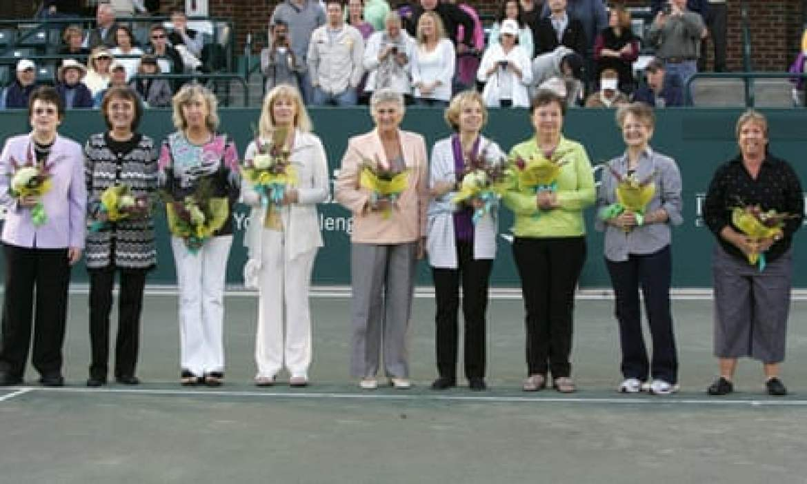 "The Original 9 reunited in 2012: Billie Jean King, Jane ""Peaches"" Bartkowicz, Kristy Pigeon, Valerie Ziegenfuss, Judy Tegart Dalton, Julie Heldman, Kerry Melville-Reid, Nancy Richey and Rosie Casals"