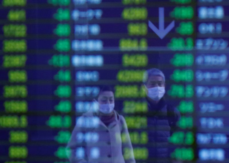 © Reuters. Passersby wearing protective face masks, following an outbreak of the coronavirus, are reflected on a screen displaying stock prices outside a brokerage in Tokyo