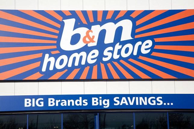 b&m home store sign, Copdock, Ipswich, England offering big brands savings