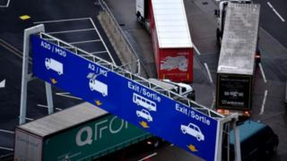 Lorries at Dover port