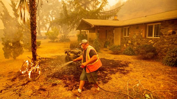A Californian resident hoses down a burning bicycle and tree as flames from the Hennessey approach a property in the Spanish Flat area of Napa, California on August 18, 2020.