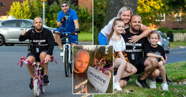 Dad cycles from Glasgow to Manchester on daughter's tiny pink bike