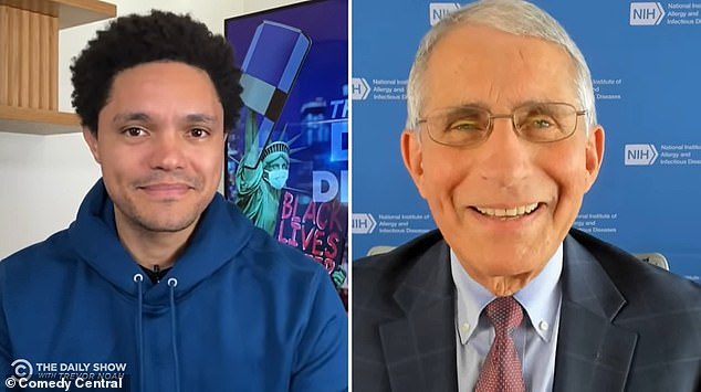 When asked by Trevor Noah (left) about the mixed messages surrounding coronavirus, Dr Anthony Fauci (right) said that part of the problem was the 'divisive' state of the US