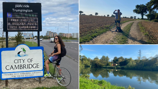 Split image of two people on bikes cycling to Cambridge.