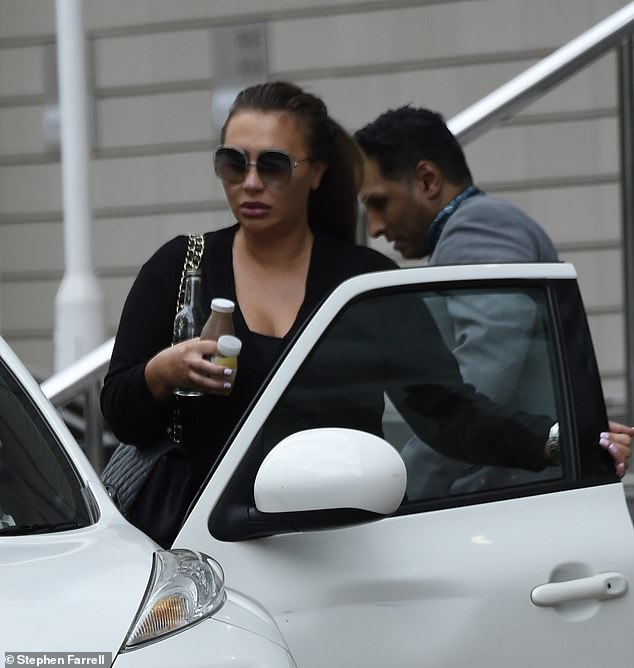 Stepping out: Lauren Goodger cut a low-key figure as she stepped out in Manchester on Friday for another day of training at Cosmetic Couture Clinic