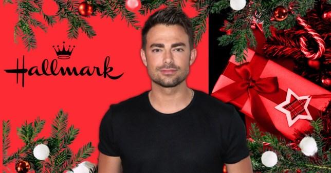 Jonathan Bennett in front of a festive background