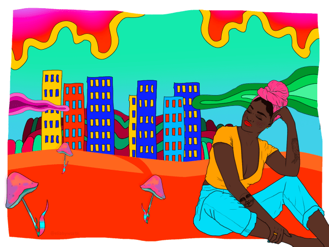 a woman thinking about a city