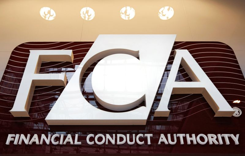 © Reuters. FILE PHOTO: The logo of the new Financial Conduct Authority in the Canary Wharf business district of London