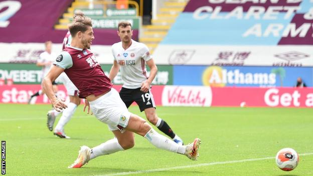James Tarkowski in action for Burnley against Sheffield United