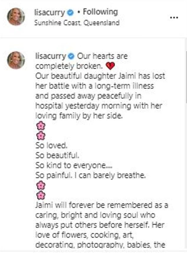 'Bright, caring and loving soul': The former competitive swimmer spoke of her 'unbearable' pain in a gut-wrenching Instagram post on Tuesday (above). Herpost was interspersed with pink floral emojis - an ode to Jaimi's 'love of flowers'