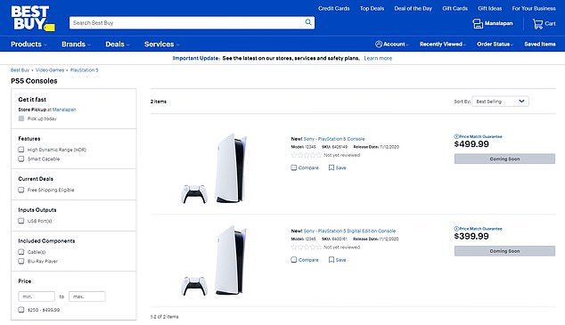Target has also sold out and is encouraging consumers to check back on the official release date of November 12. Best Buy is out of stock and lists 'coming soon' on its website, while Walmart's website notes it should have more in stock on September 22