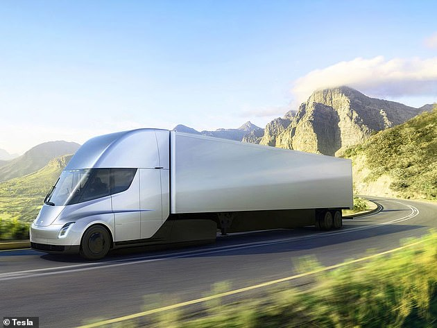 The tabless battery will power upcoming Tesla electric vehicles, including the heavy-duty Semi truck (pictured)