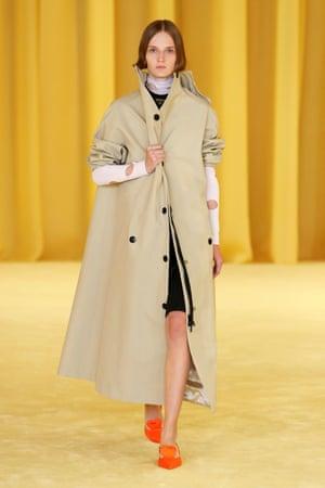 Long camel-coloured coat