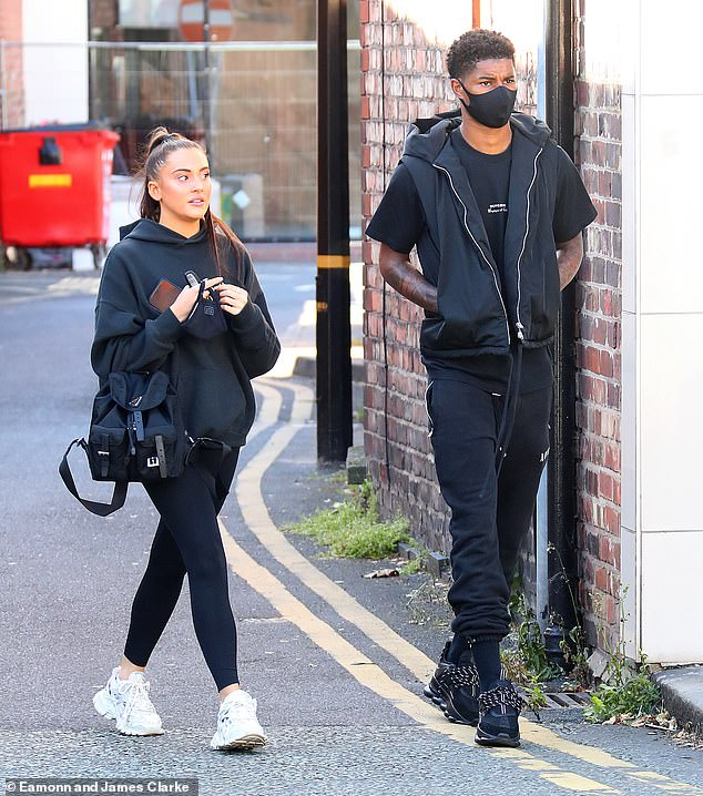 Close:The England star put safety first with a black face mask and tracksuit bottoms as he made his way to a breakfast date with his beau