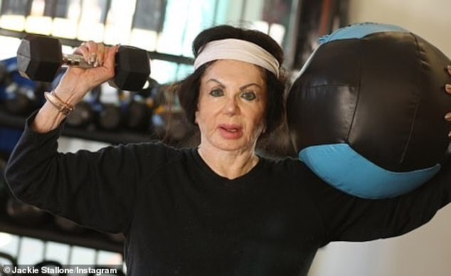 Still got it:Up until her death, Jackie could be seen engaging in weight lifting exercises, which she filmed and uploaded to her Instagram page; Jackie pictured on April 17