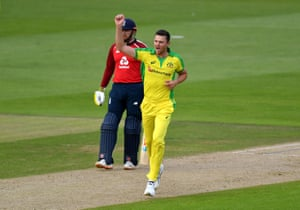 Hazlewood celebrates taking Banton.