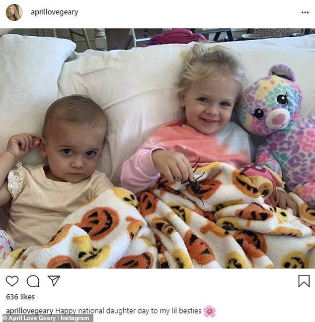 On Friday: The young mother uploaded a sweet snap of her two daughters to Instagram, in honor of National Daughters Day