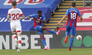 Crystal Palace's Wilfried Zaha scores his side's opening goal.