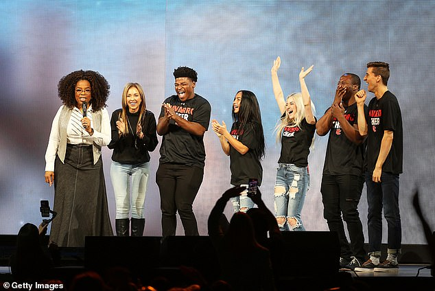 They rocketed to fame: (L-R) Oprah, Aldama, Harris, Gabi Butler, Lexi Brumback, TT Barker and Dillon Brandt during Oprah's 2020 Vision: Your Life in Focus Tour in February in Dallas, Texas