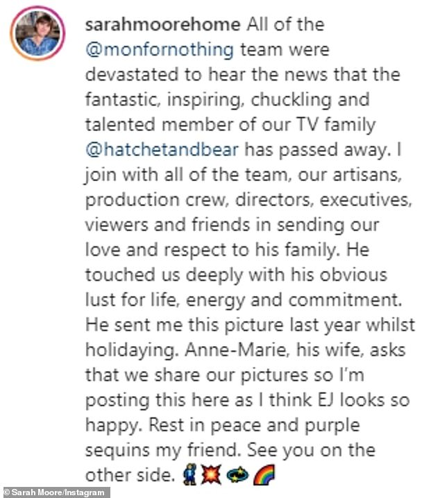 Tribute: Moore, who worked alongside the 44-year old woodworker on their BBC show, broke the tragic news on Instagram