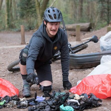 Trash for Trails rider at Leigh Woods, Ashton Court, Bristol