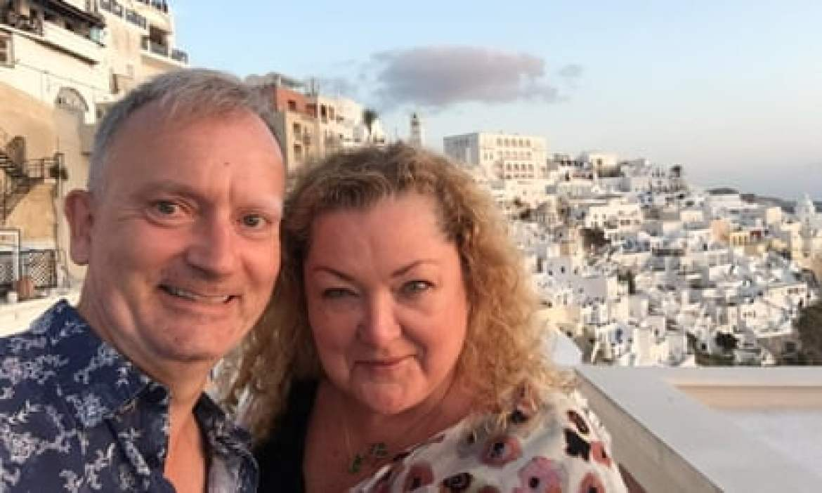Carolyn Brown with friend Jonathan Wilson on Santorini.